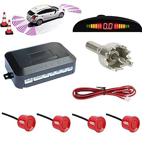 TKOOFN® Universal KFZ Radar Aparcamiento Sensor Alarma Acustica Indicador LUZ Kit LED Marcha Atras (
