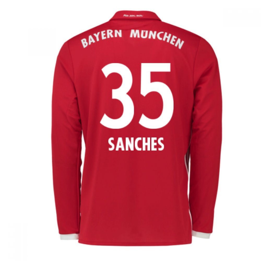 2016-17 Bayern Munich Long Sleeve Home Shirt (Sanches 35) B077Z465DGRed Small 36-38\