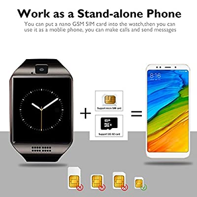 Bluetooth Smart Watch with Camera, Touch Screen Smart Watches Unlocked Watch Cell Phone with Sim Card Slot,Smart Wrist Watch,Waterproof Smartwatch for Android Samsung iOS iPhone 7 6S Men Women Kids