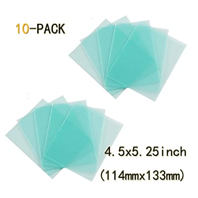 10-PACK Welding Protective Lens Replacement 4.5 X 5.25 inch (114 mm x 133 mm) Transparent Cover Lens Cover