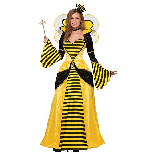 Forum Women's Royal Queen Bee Costume Dress, Yellow/Black, (Bumble Bee And Bee Keeper Costume)