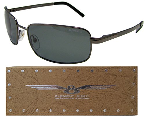 E8 Element Eight Metal Wire Frame Polarized Sunglasses - Gun Metal Frame - Smoke - Element Eight