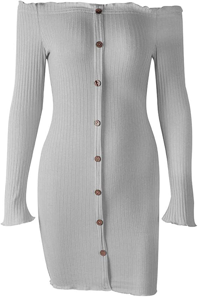 Women Dresses for Special Occasions QUNANEN Long Sleeve Solid Button Slash Neck Casual Dresses for Wedding Guest