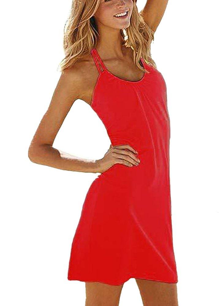 LaoZan Damen Halfter Ärmellos Rundhalsausschnitt Kurzes Kleid Freizeitkleid Strandkleid Sommerkleid