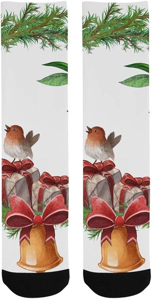 Cardinal Red Bird With Bells Crazy Soccer Knee Dress Trouser Sock Women Botts