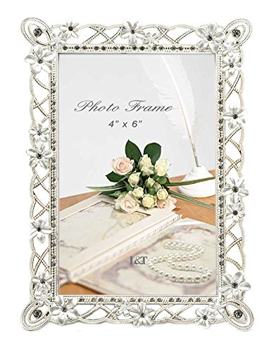 L&T Metal Picture Frame Silver Plated with Pearly White Flowers and Crystals, for 4 x 6 Inch Photo - Jeweled Flower Picture Frame