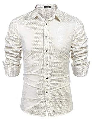 COOFANDY Men's Luxury Dress Shirt Long Sleeve Metallic Printed Casual Button Down Shirt 70s Party Prom Shirts