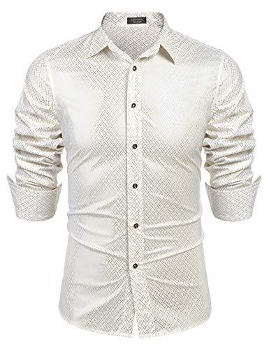 - COOFANDY Men's Luxury Dress Shirt Long Sleeve Metallic Printed Casual Button Down Shirt 70s Party Prom Shirts
