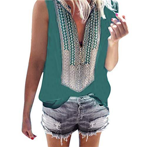 - XVSSAA Women's Ethnic Print Sleeveless Top, Ladies Summer Loose Casual Deep V-Neck Slim Blouse T-Shirt Green
