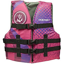 """Oceans7 US Coast Guard Approved, Youth Life Jacket, Type III Vest, PFD, Personal Flotation Device, Chest Size 26"""" - 29"""", Pink/Raspberry, 50-90 lb."""