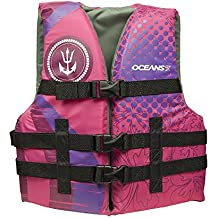 "Oceans7 US Coast Guard Approved, Youth Life Jacket, Type III Vest, PFD, Personal Flotation Device, Chest Size 26"" – 29"", Pink"