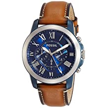 Fossil Men's Grant Quartz Stainless Steel and Leather Chronograph Watch, Color: Blue, Brown (Model: FS5151)