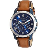 Fossil Men's Grant Quartz Stainless Steel and Leather Chronograph Watch, Color: Blue, Brown...