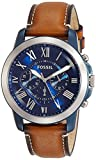 Image of Fossil Men's FS5151 Grant Chronograph Stainless Steel Watch With Light Brown Leather Band