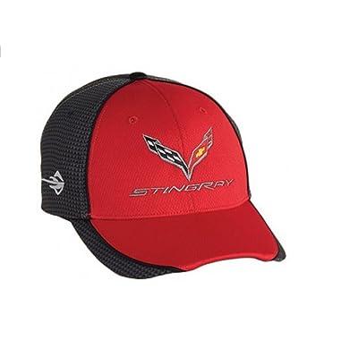 Chevrolet Corvette C7 Carbon Fiber Look Baseball Hat (Red),One Size: Clothing