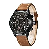 AMUDA Men's Quartz Stainless Steel and Leather Watch, Color:Brown (Model: AMU#2045)