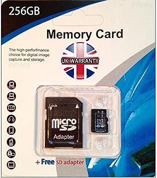 256 GB Clase 10 tarjeta MICRO SD con adaptador SD para ...