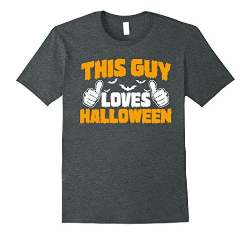 Mens This Guy Loves Halloween Funny Halloween T-Shirt Large Dark Heather