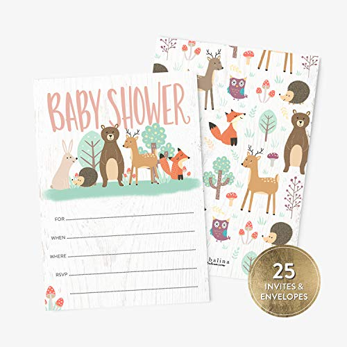 25 Baby Shower Invitations with Envelopes, Cute Animals Woodland Baby Boy or Girl Shower Fill-in Style Invitation, Gender Neutral Baby Shower Invitations]()