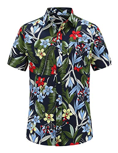 Mens Aloha Hibiscus Shirt - JEETOO Mens Casual Flower Print Hibiscus Short Sleeve Hawaiian Aloha Shirt (JS074PR002, 3XL)