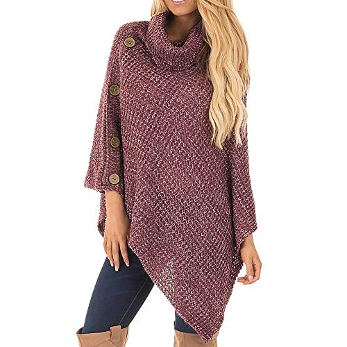 Ladies Pullover Poncho Sweater Vintage Cowl Neck Fringe Boho Cape Lightweight Knit Jumper with Buttons Dressy Sweaters Tops Red L
