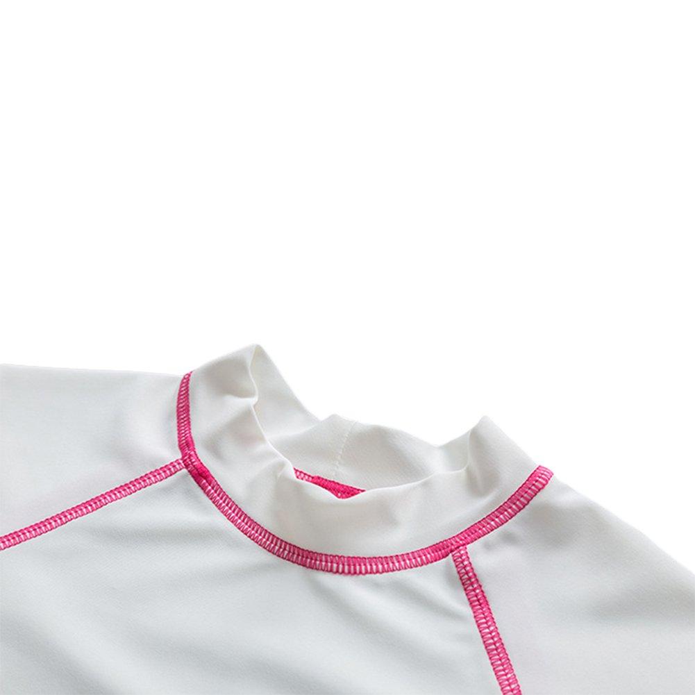 Baby Toddler Girls Two Pieces Swimsuit Set Girls Short Sleeve Bathing Suit Sunsuit Rash Guards UPF 50+