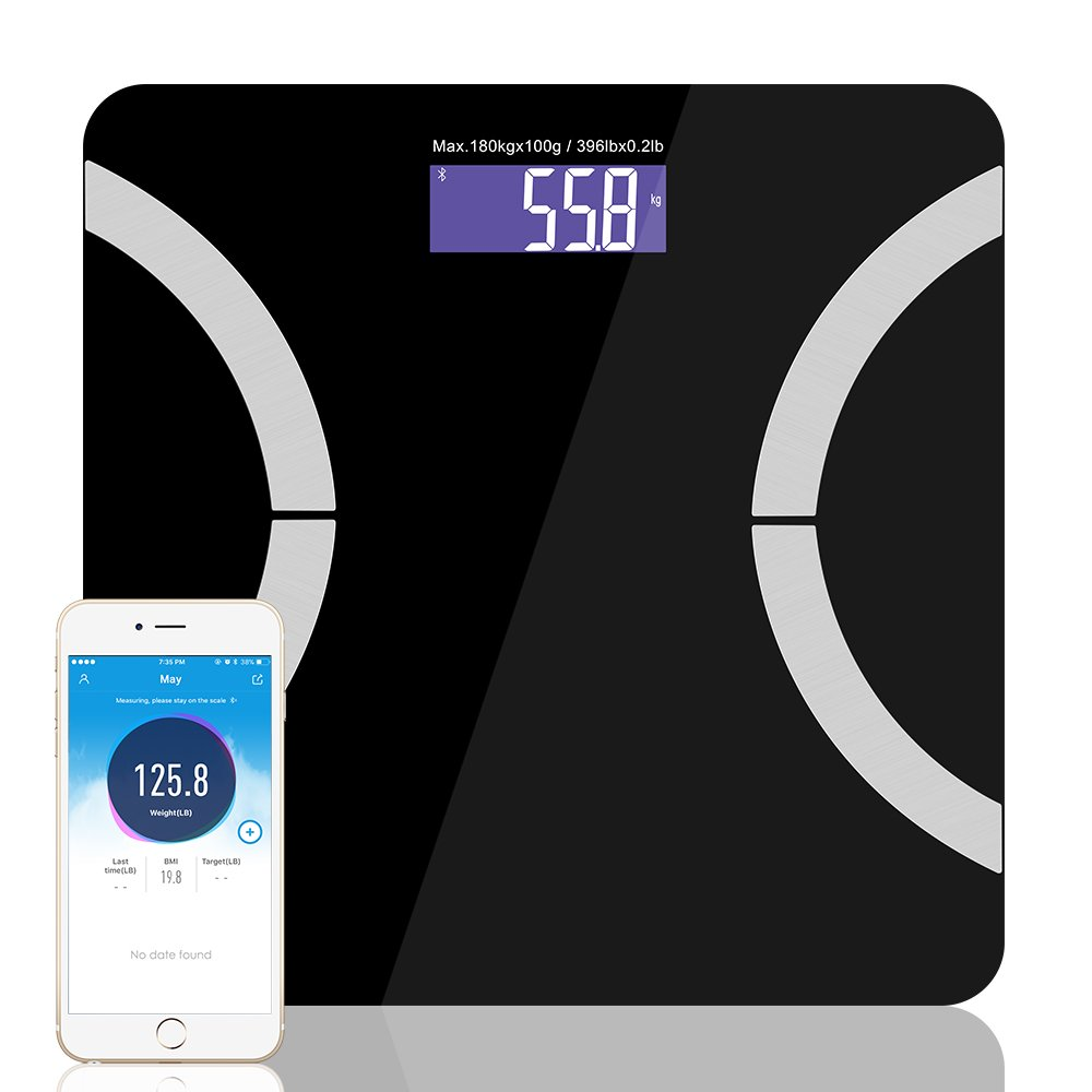 Bluetooth Body Fat Scale, Releeder Smart Digital Body Weight Bathroom Scale with iOS and Android App BMI Scale for Body Weight, Body Fat, Visceral Fat, Water Weight, Muscle Mass, Bone Mass, BMI, BMR