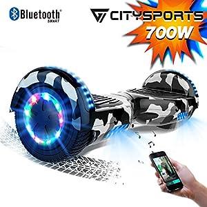 517KLkWpUJL. SS300 CITYSPORTS Overboard 6.5 Pollici Hover Board Bluetooth Segway Motor 700W Auto-bilanciamento con Ruote Flash LED, Bambini…