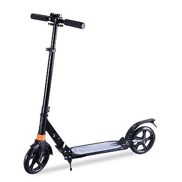 Patineta Scooter de Dos Ruedas para Adultos para niños Scooter Plegable/Ajustable para Personas de 6 a 30 años de Edad utilizando (Color : Black): ...