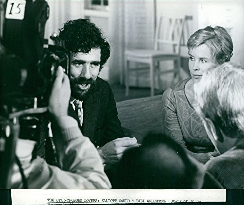 Vintage photo of Elliott Gould and Bibi Andersson during a scene in their movie together