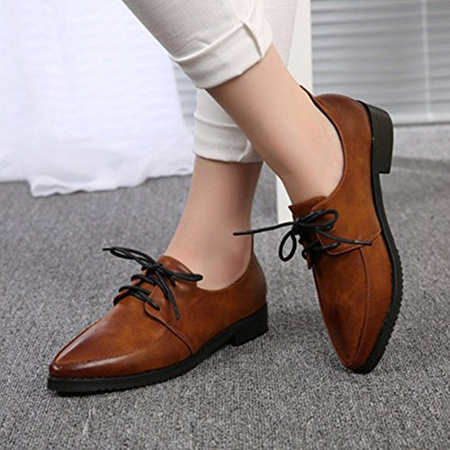 Women's Shoes Sneaker Oxfords Toe Pointed Classic Lace Casual Brown Flat Up rRqFwSr
