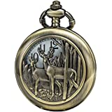 SEWOR Retro Quartz Pocket Watch White Dial Bronze Case with Two Chains Leather & Metal (Reindeer Woodland)