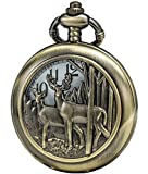 SEWOR Retro Quartz Pocket Watch White Dial Bronze Case Smooth With Two Type Style (Reindeer Woodland)