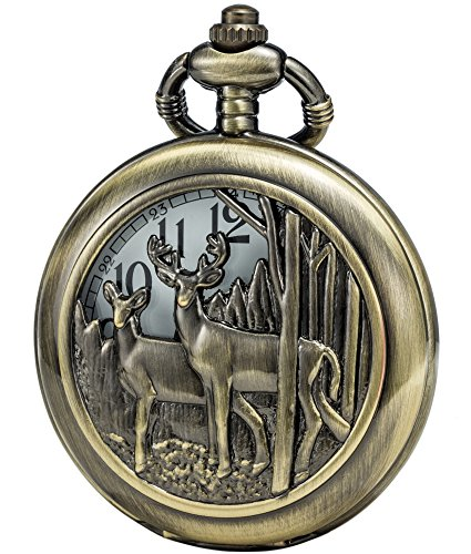 SEWOR Retro Quartz Pocket Watch White Dial Bronze Case Smooth With Two Type Style (Reindeer Woodland) by SEWOR