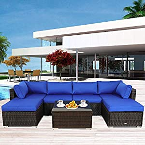 Homall 6pcs Patio Outdoor Furniture Sets Blue Low Back All-Weather Rattan Sectional Sofa Manual Weaving Wicker Conversation Set with Coffee Table/&Washable Couch Cushions
