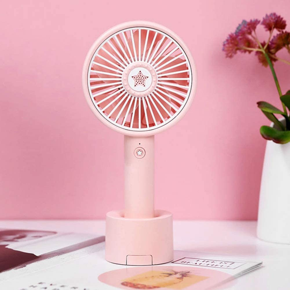 USB Handheld Small Fan Mobile Phone Holder Student Dorm Room Office Bedroom Office Child Cartoon Electric Fan Tingting Color : Pink, Size : D Fan