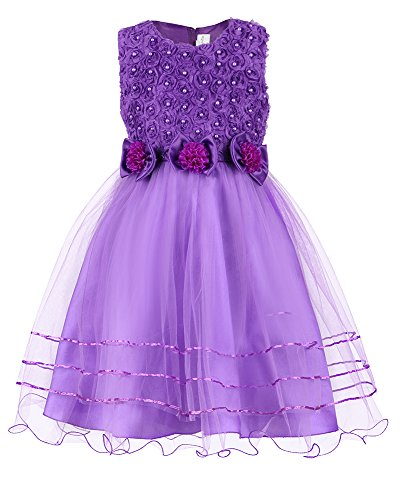 Mignongirl Flower Lace Girls Dress Princess A-Line Weddig Party Gown Dresses for Baby Girls,Toddler,Kids(9 Months to 8 Years) (Tag 110=US 5, (Party Dresses For Childrens)