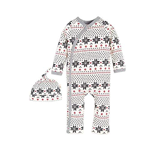 Burt's Bees Baby Unisex Baby Romper and Hat, One Piece Jumpsuit and Beanie Set, 100% Organic Cotton, Fair Isle Kimono, 3-6 Months ()