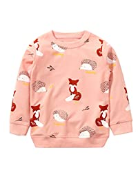 Girls Cotton Crewneck Cute Sweatshirts the hedgehog and the fox Pink 2-7T Bumeex