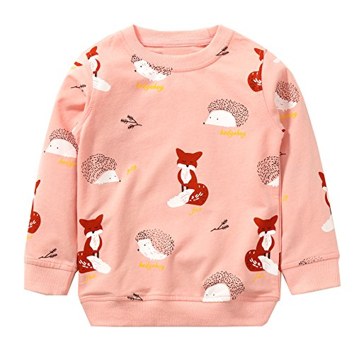 Kids Sweatshirt (Girls Cotton Crewneck Cute Sweatshirts the hedgehog and the fox Pink 2-7T Bumeex (7T(6-7 years)))
