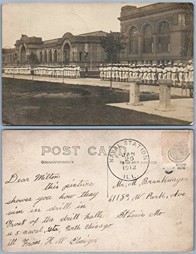 U.S.NAVAL STATION GREAT LAKES NORTH CHICAGO IL DRILL w/RIFLES ANTIQUE PHOTO RPPC (Great Lakes Naval Station North Chicago Il)
