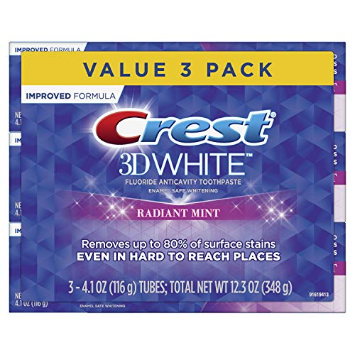 Crest 3D White Toothpaste Radiant Mint 4.1 oz (3 pack) Packaging May Vary (Best Way To Remove Antiperspirant Stains)