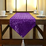 ShinyBeauty Sequin Table Runner with Tassel 12inX90in Royal Purple, Dining Table Runner Sequin Hotel Coffee Table Runners or Wedding Party Decoration