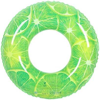 カラー水泳リング肥厚大人の男の子と女の子虹増加水泳リングフルーツ救命浮輪赤ちゃんフローティングリングインフレータブル脇の下リング (色 : Lemon green, サイズ さいず : 60)
