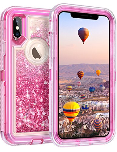 Coolden Case for iPhone X Case Protective Glitter Case for Women Girls Cute Bling Sparkle Quicksand Heavy Duty Hard Shockproof TPU Cover for 5.8 Inches Apple iPhone X iPhone 10, Pink