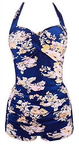 ebuddy Elegant Retro Inspired Boy-Leg One Piece Ruched Monokinis Swimsuit,Blue Flower-XL -