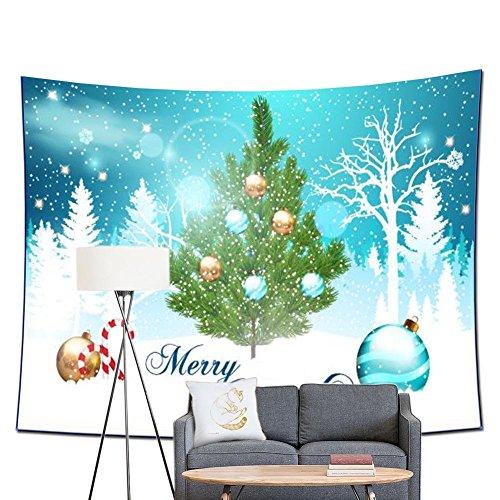 POPPAP Christmas Scene Wall Tapestry Room Decor, Winter White Snow Tree Bells Print Christmas Party Scene Setter Wall Decoration Blanket Merry Christmas Background (79