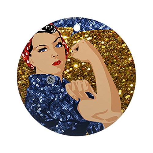 CafePress Glitter Rosie The Riveter Round Holiday Christmas -