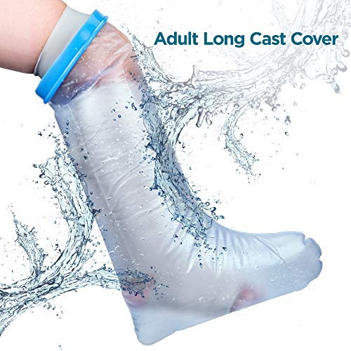 Waterproof Leg Cast Cover for Shower. Reusable, Thick Adjustable Protector Bag to Keep Casts and Bandages Dry. Full Watertight Protection for Broken or Injured Legs, Knees, Ankles, Fingers, Heels. (Rubber Cast Cover)