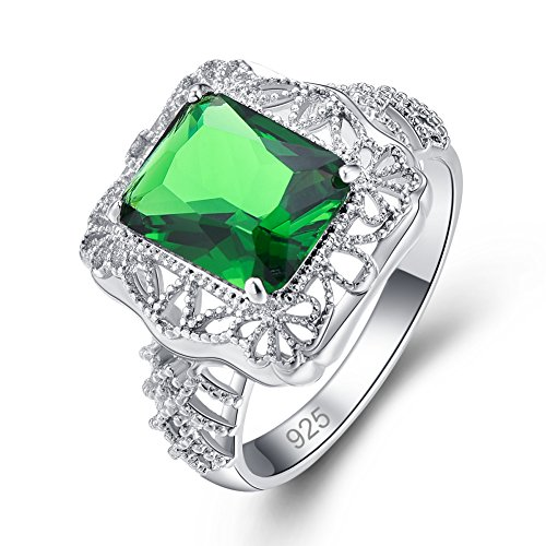 Sterling Silver Floral Ring - Psiroy 925 Sterling Silver Created Emerald Quartz Filled Art Deco Floral Ring